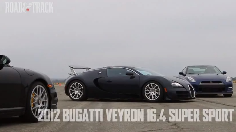 bugatti veyron super sport vs nissan gt r vs porsche 911 turbo s drag racing. Black Bedroom Furniture Sets. Home Design Ideas