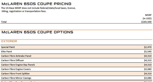 Mclaren 650s Us Msrp Pricing And Option List Dragtimes